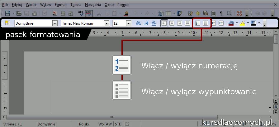 Okno programu writer z wyróżnionym paskiem formatowania