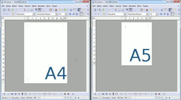 domyślny układ strony A4 oraz nowy A5
