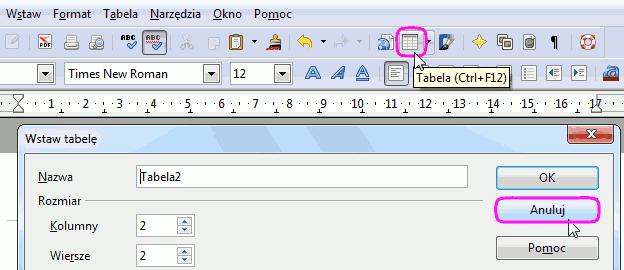 normalne wstawianie tabeli
