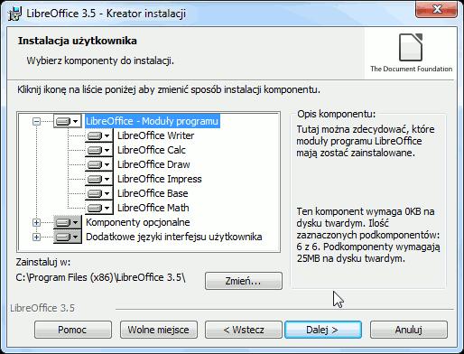 LibreOffice - wybór składników