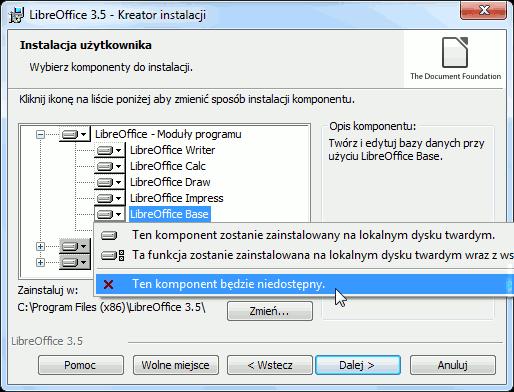 LibreOffice - wybór programów