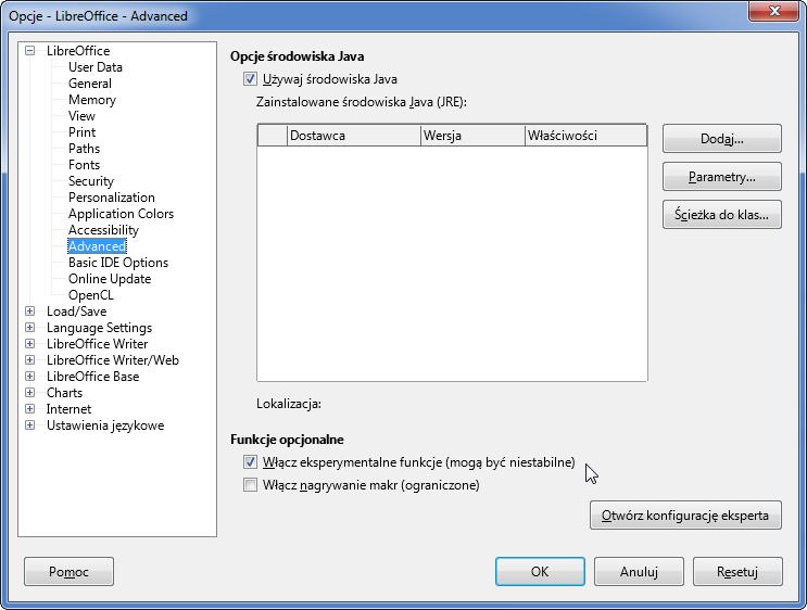 Okno dialogowe pozwalajace włączyć eksperymentalne funkcje w LibreOffice.