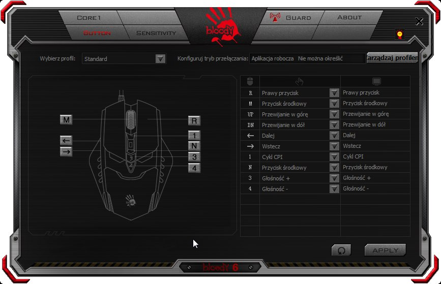 Screen z programu Bloody pokazujący, jak można zmienic funkcje przycisków myszki RT7.