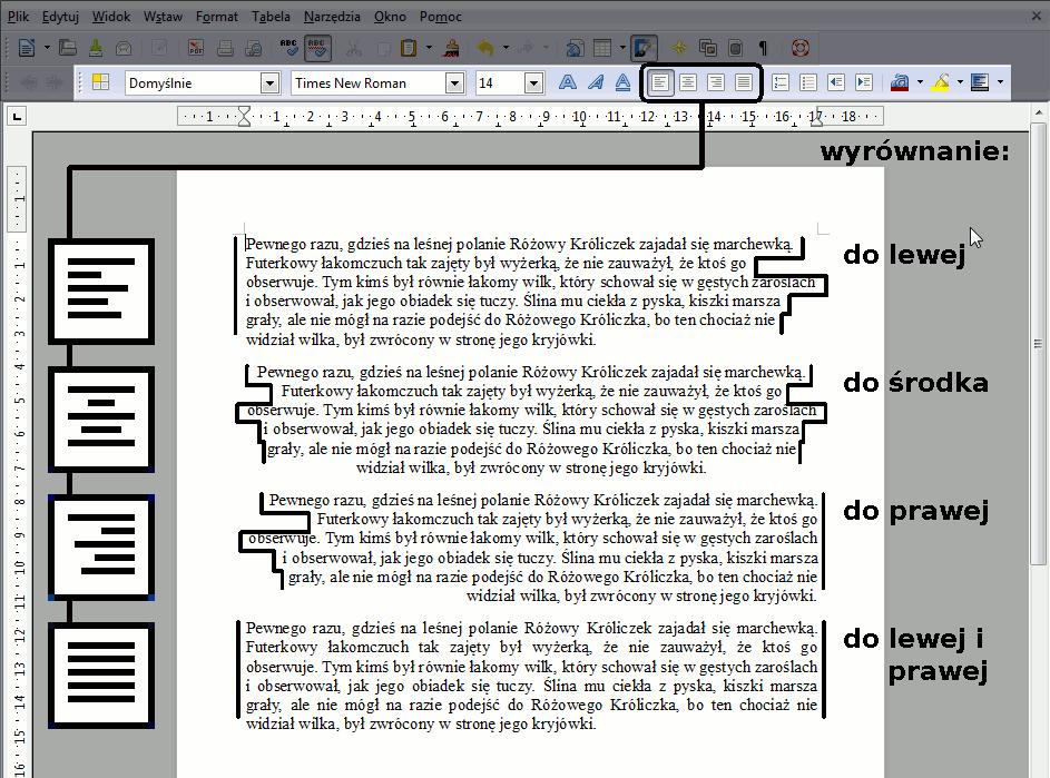 wyrównanie akapitów - rozpiska