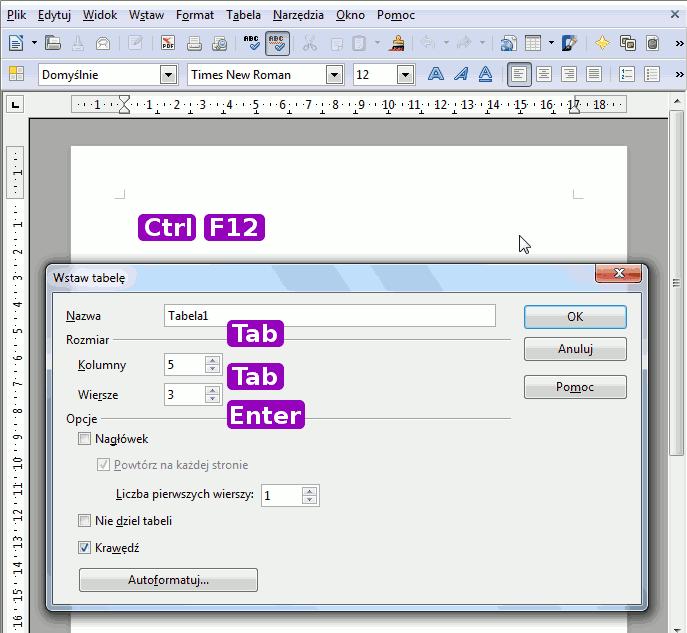 wstawianie tabeli za pomocą skrótów