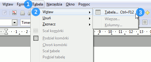 wstawianie tabeli do writera