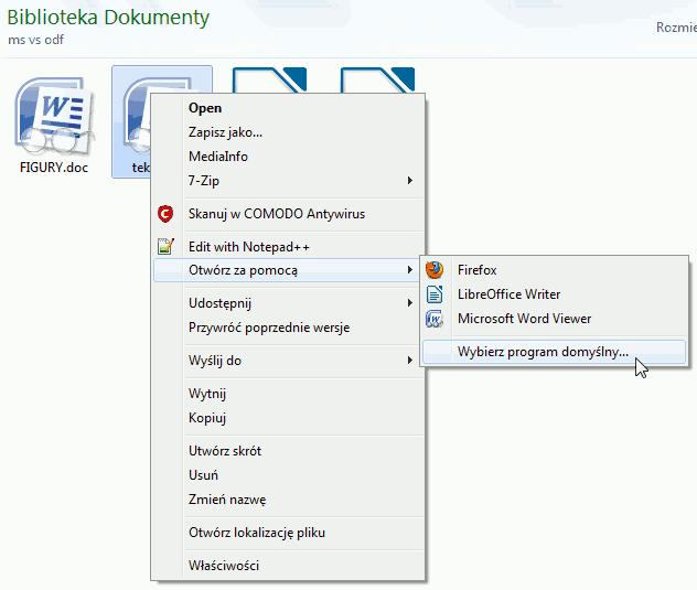 otwieranie pliku innym programem