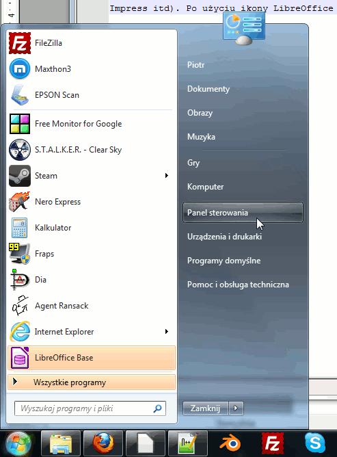wchodzenie do panelu sterowania (windows 7)