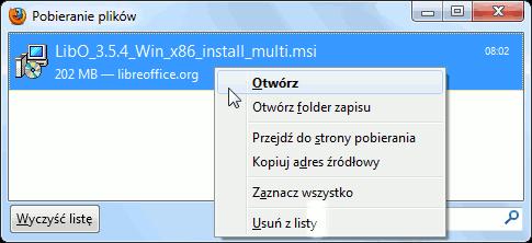 Firefox - otwieranie pliku