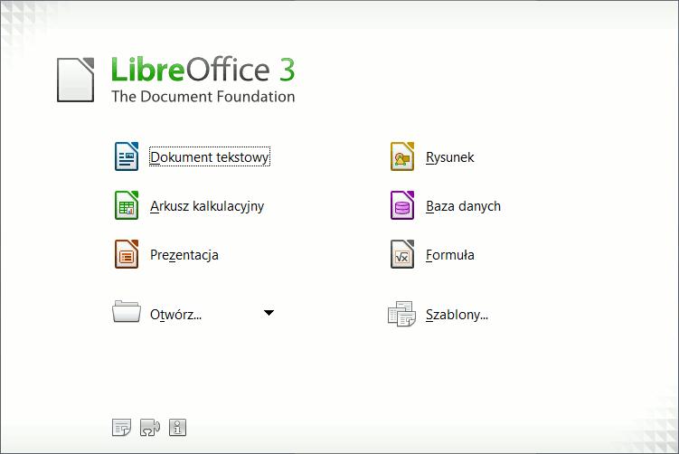 LibreOffice - ekran powitalny