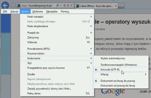 internet explorer kodowanie