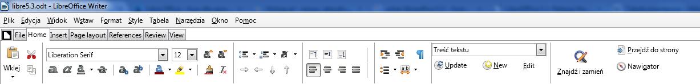 Nowy pasek formatowania w LibreOffice 5.3