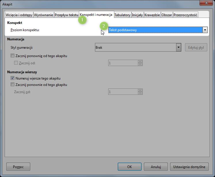 Screen z programu Writer pokazujący, jak program rozpoznaje co ma być nagłówkeim w spisie treści.