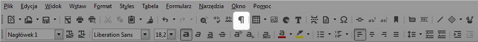 Screen pokazujący jak właczyć znaki niedrukowalne w programie Writer.